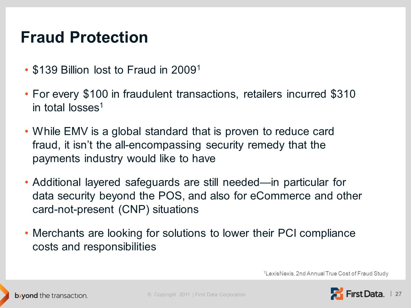 Fraud Protection $139 Billion lost to Fraud in 20091
