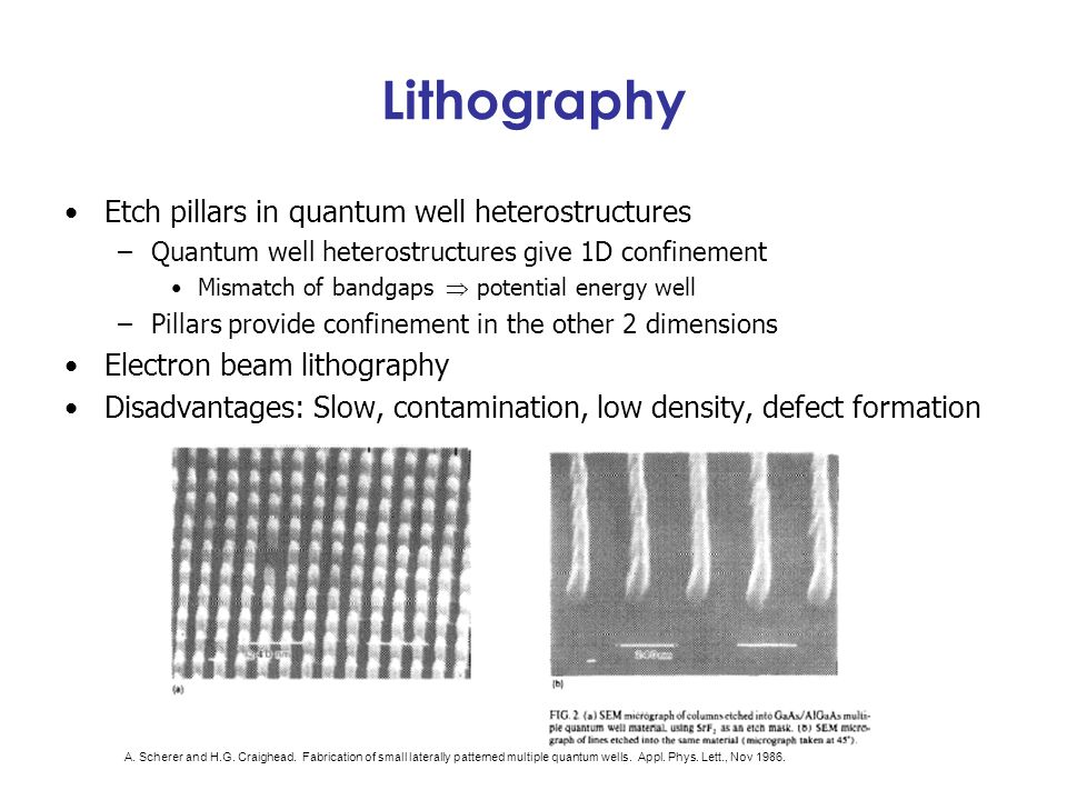 Lithography Etch pillars in quantum well heterostructures