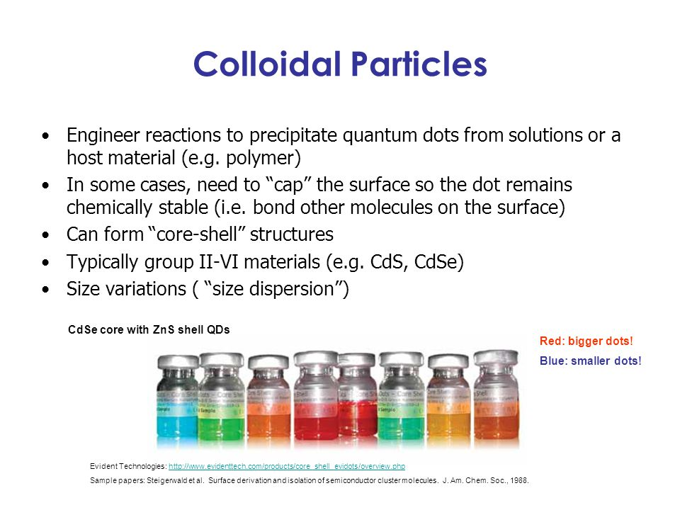 Colloidal Particles Engineer reactions to precipitate quantum dots from solutions or a host material (e.g. polymer)