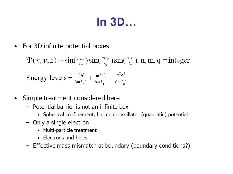 In 3D… For 3D infinite potential boxes