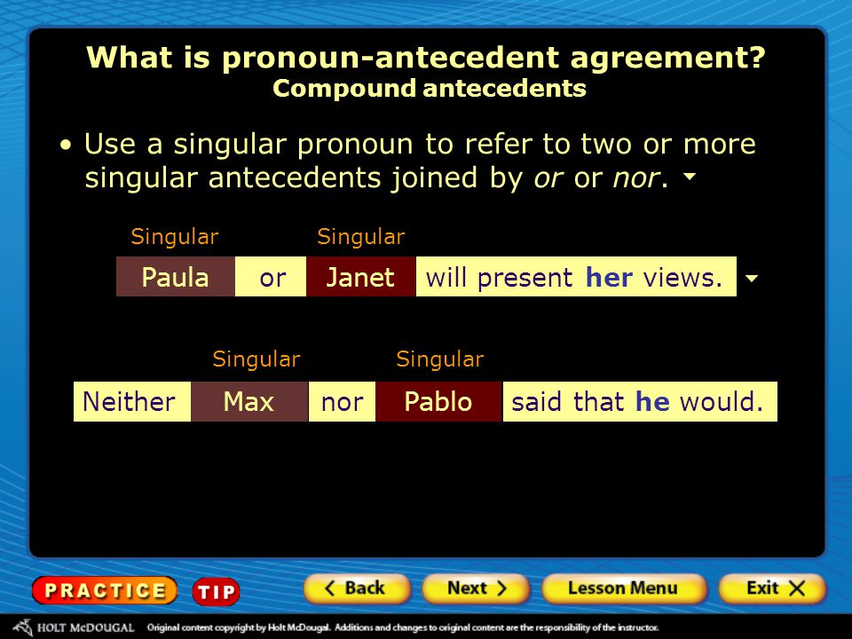What is pronoun-antecedent agreement Compound antecedents