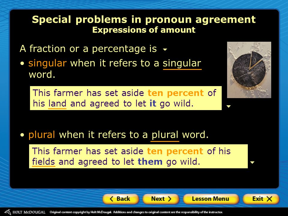 Special problems in pronoun agreement Expressions of amount
