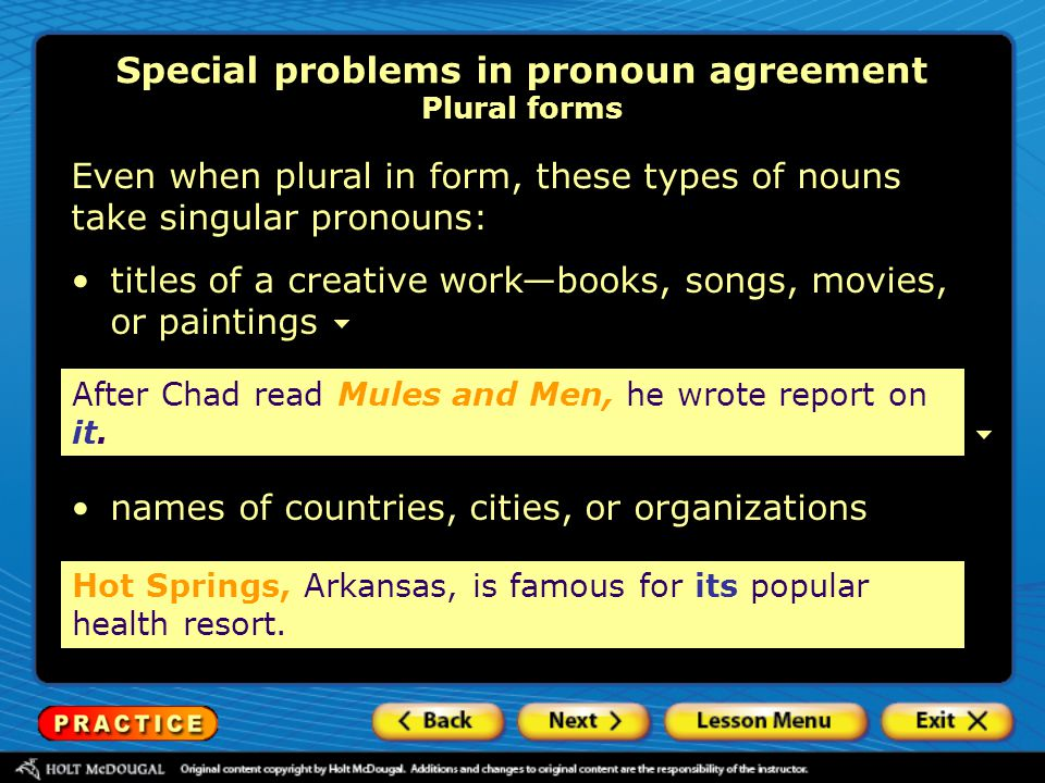 Special problems in pronoun agreement Plural forms