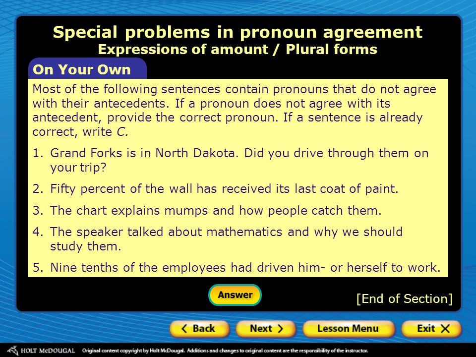 Special problems in pronoun agreement Expressions of amount / Plural forms