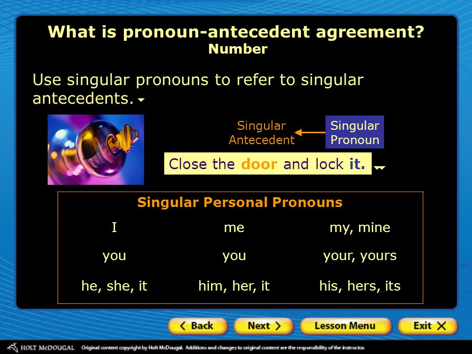 What is pronoun-antecedent agreement Number