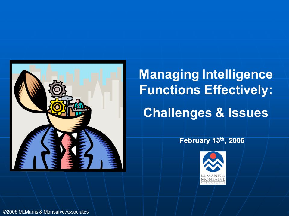 Managing Intelligence Functions Effectively: