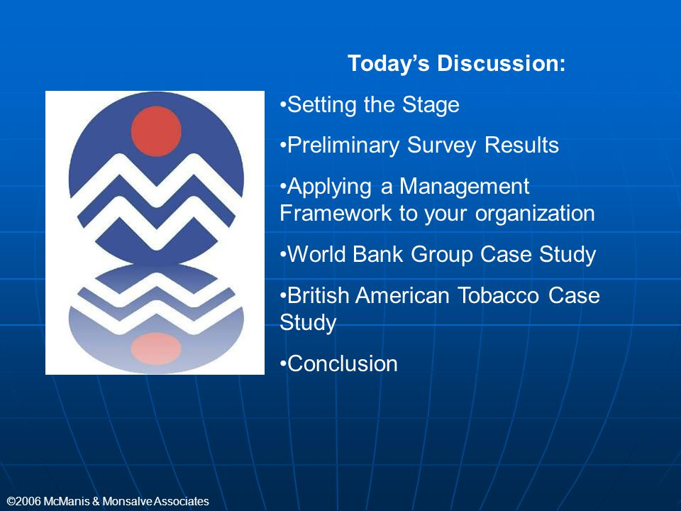 Today's Discussion: Setting the Stage. Preliminary Survey Results. Applying a Management Framework to your organization.
