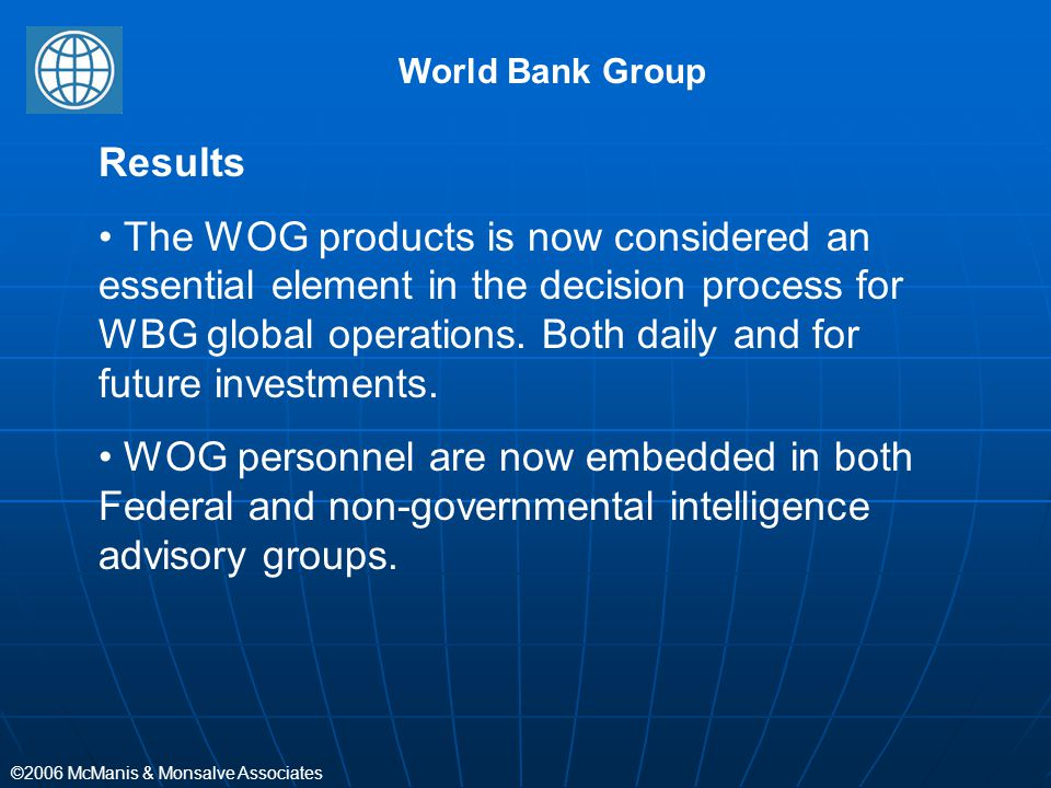 World Bank Group Results.