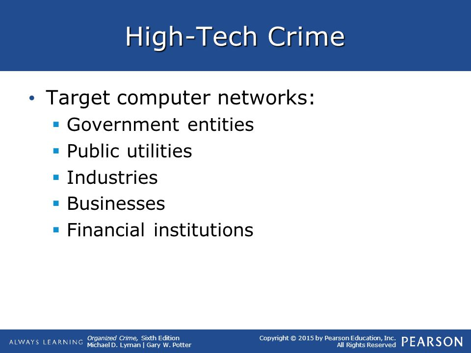 High-Tech Crime Target computer networks: Government entities