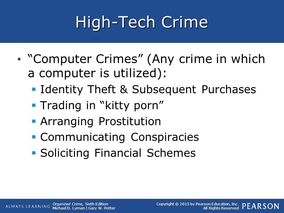 High-Tech Crime Computer Crimes (Any crime in which a computer is utilized): Identity Theft & Subsequent Purchases.
