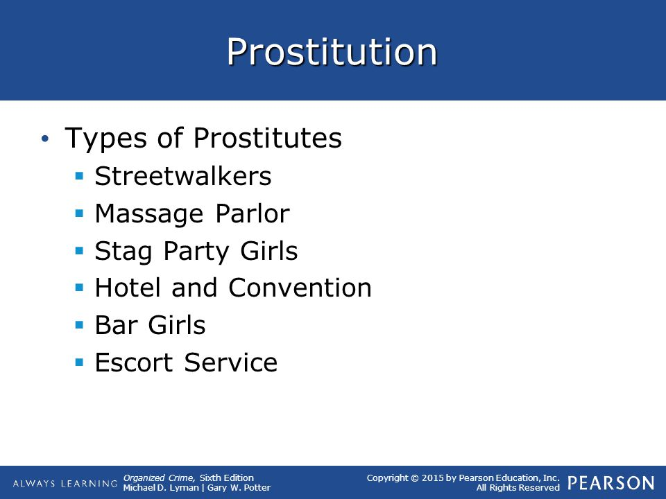 Prostitution Types of Prostitutes Streetwalkers Massage Parlor