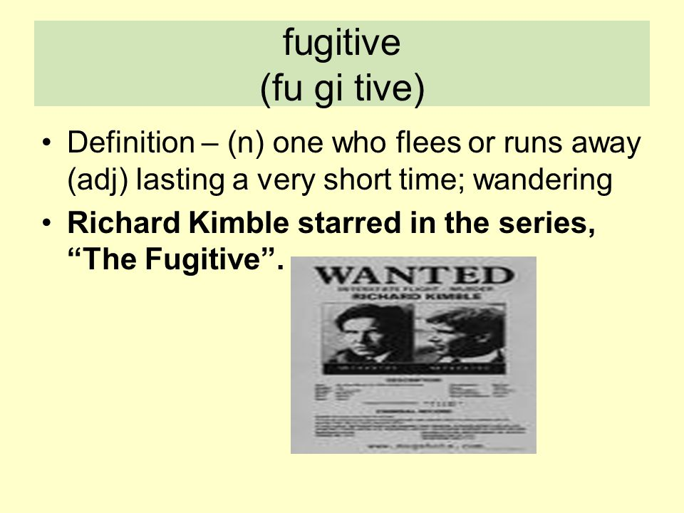 fugitive (fu gi tive) Definition – (n) one who flees or runs away (adj) lasting a very short time; wandering.