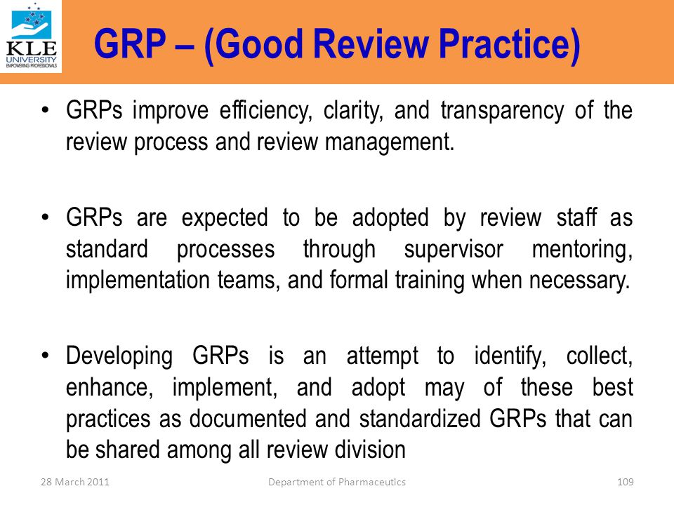 GRP – (Good Review Practice)