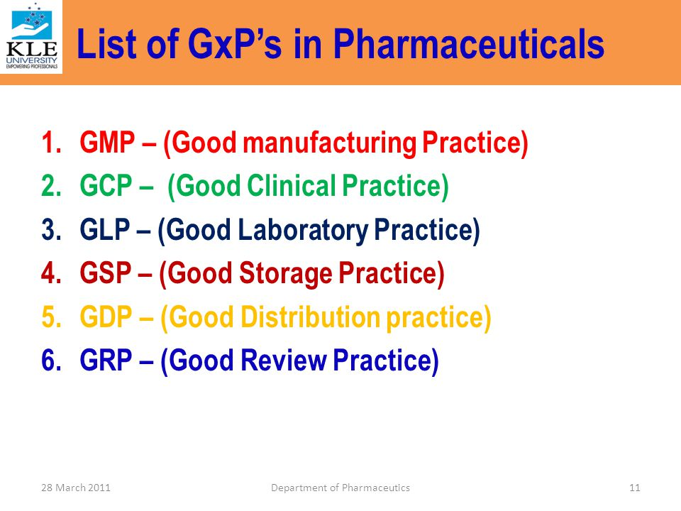 List of GxP's in Pharmaceuticals