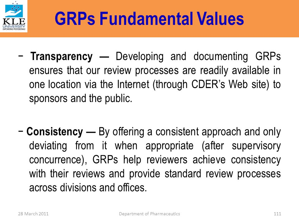 GRPs Fundamental Values