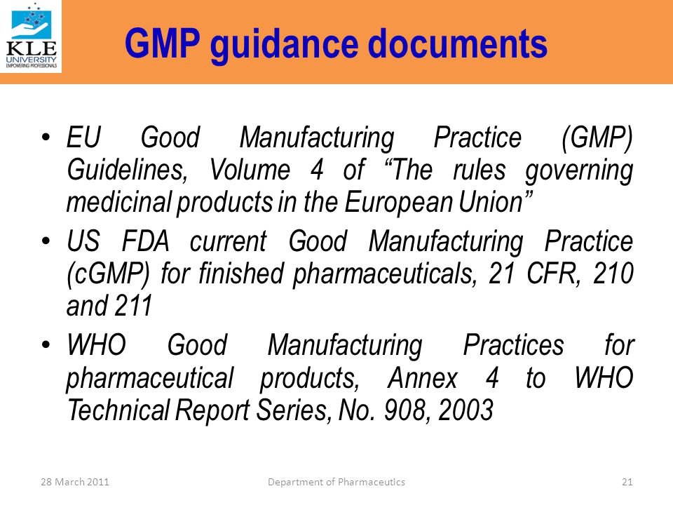 GMP guidance documents