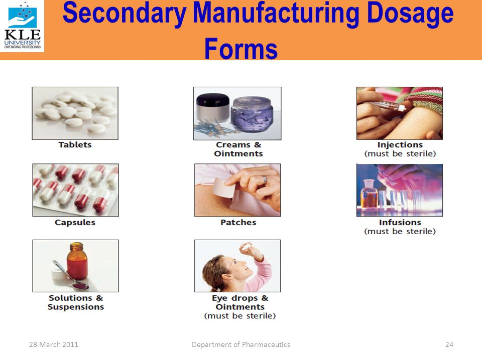 Secondary Manufacturing Dosage Forms