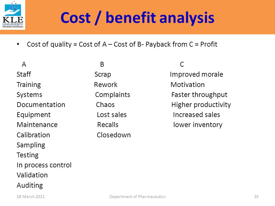 Cost / benefit analysis