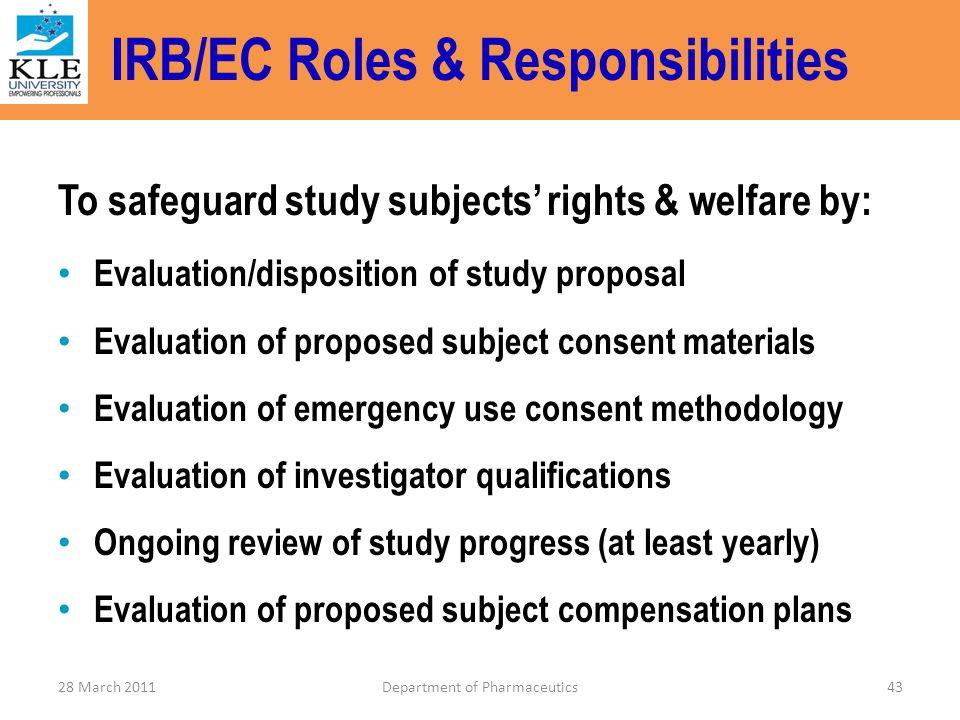 IRB/EC Roles & Responsibilities