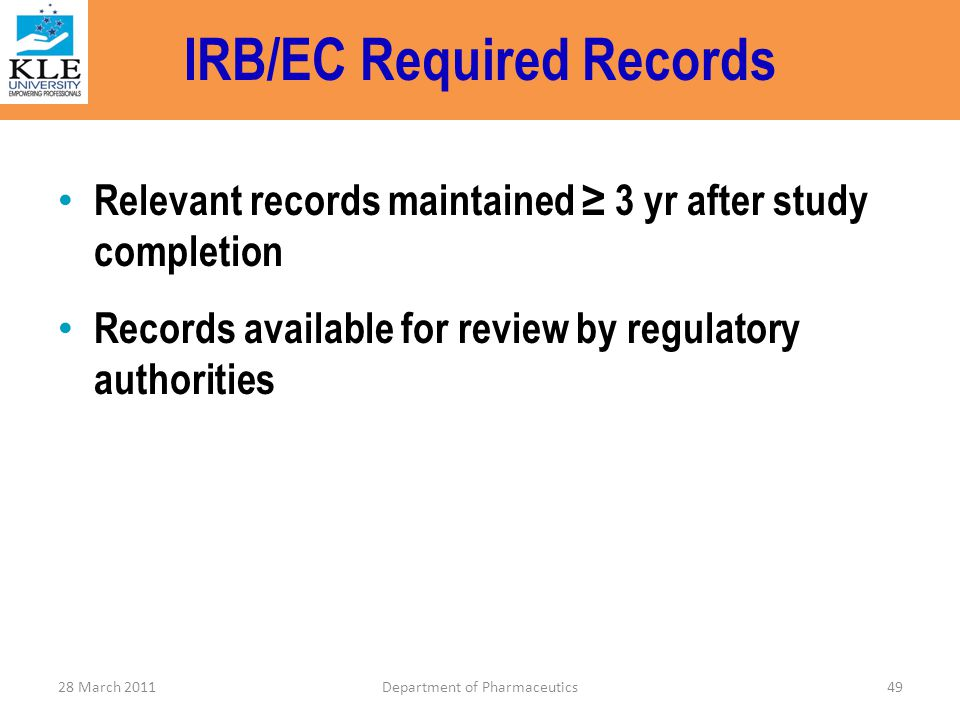 IRB/EC Required Records
