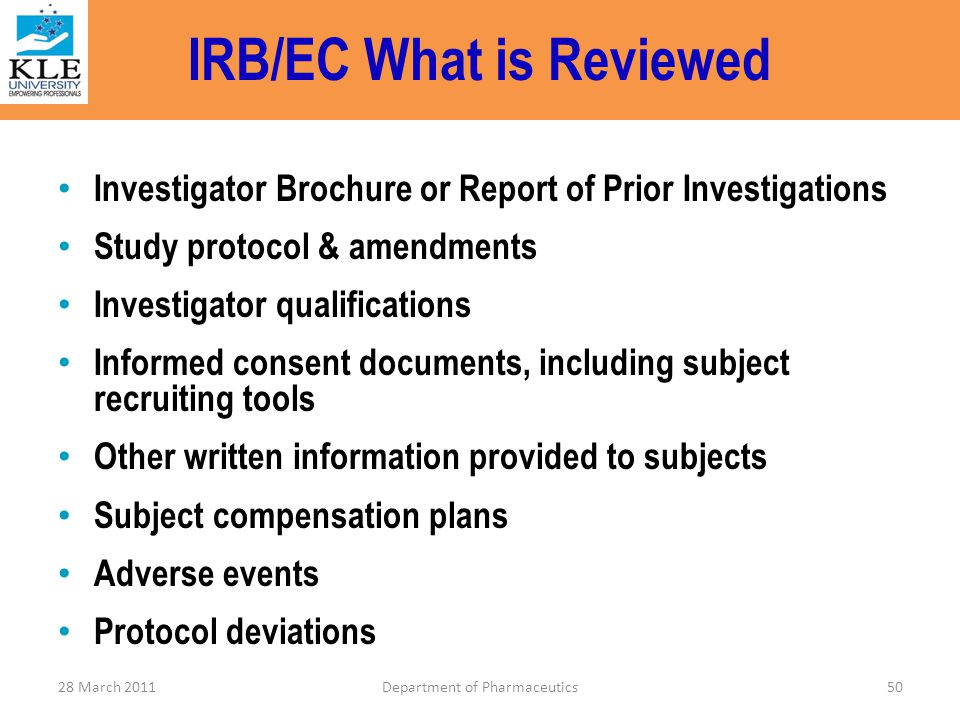 IRB/EC What is Reviewed
