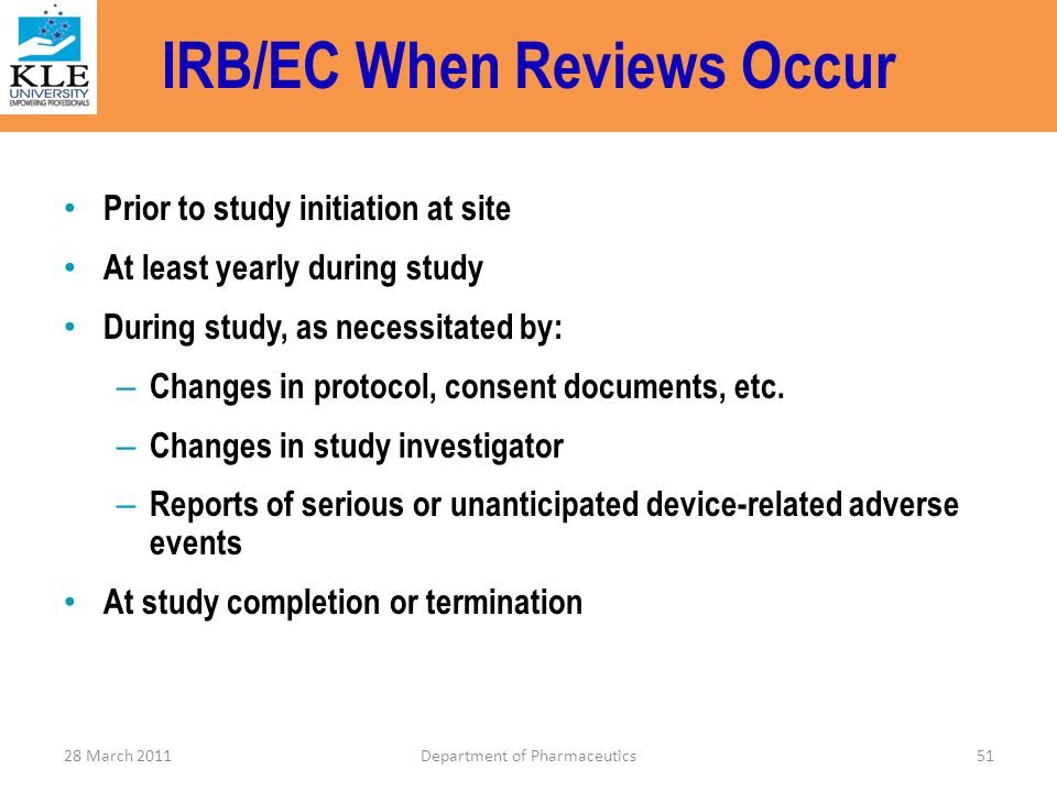 IRB/EC When Reviews Occur