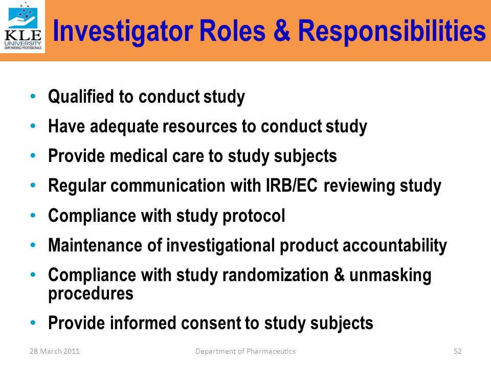 ICH-GCP An Overview of Investigator's Responsibilities