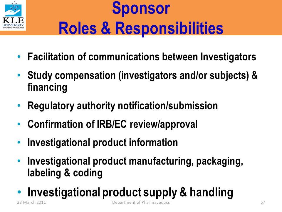 Sponsor Roles & Responsibilities