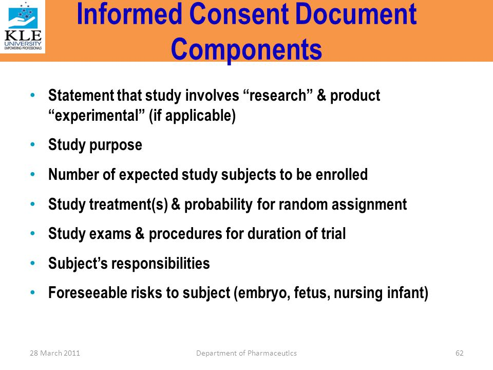 Informed Consent Document Components
