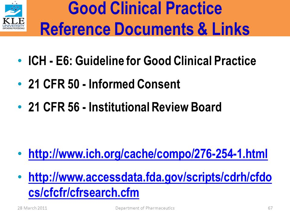Good Clinical Practice Reference Documents & Links