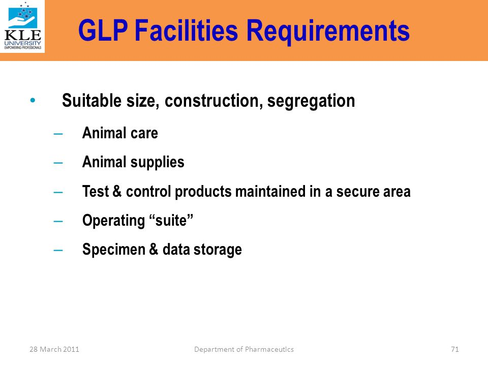 GLP Facilities Requirements