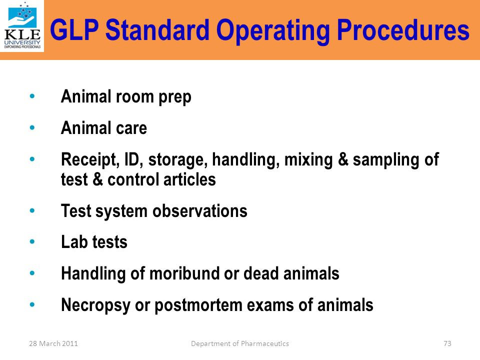 GLP Standard Operating Procedures