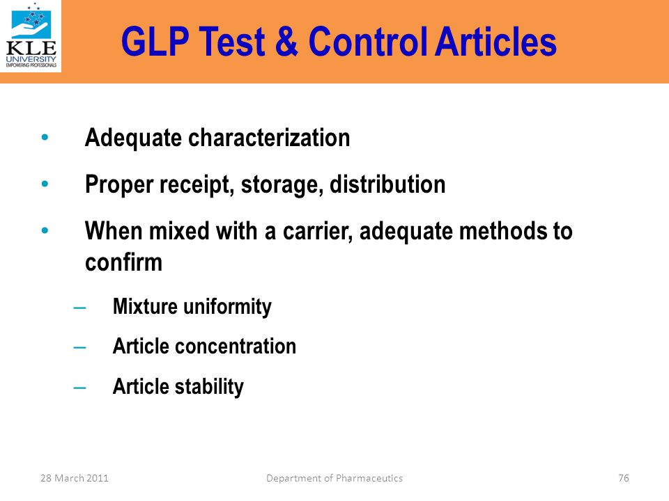GLP Test & Control Articles