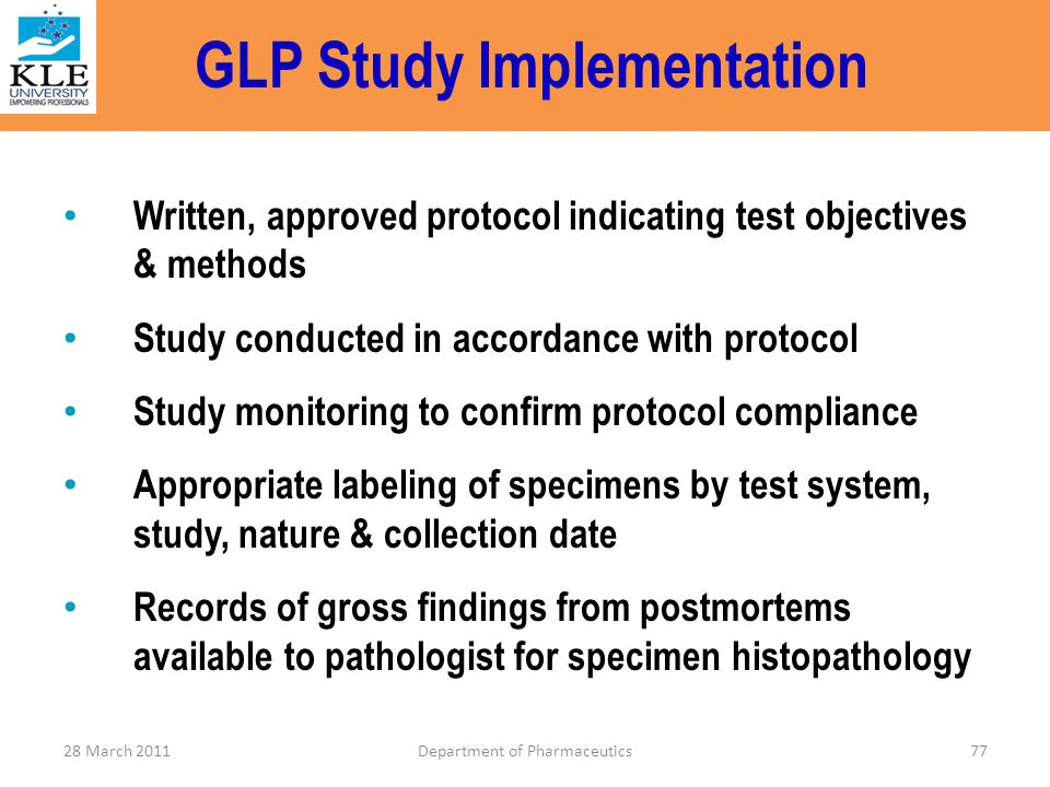 GLP Study Implementation