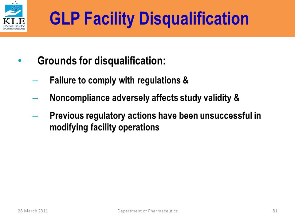 GLP Facility Disqualification