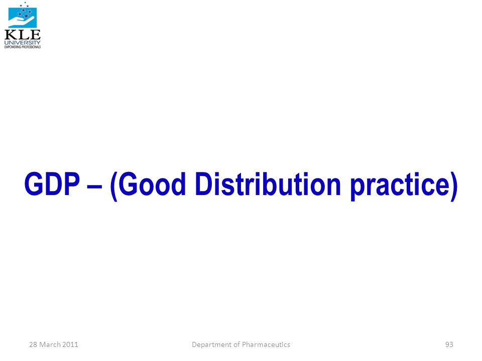 GDP – (Good Distribution practice)
