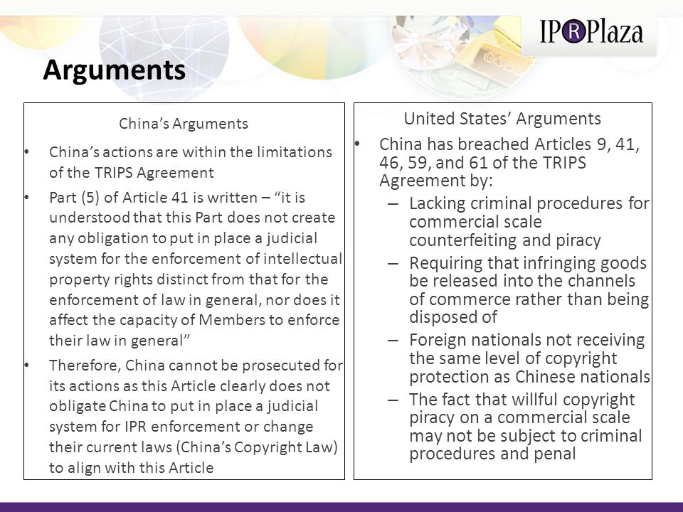 United States' Arguments