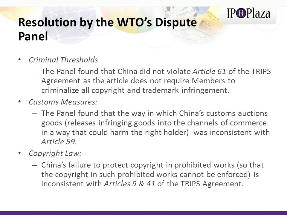 Resolution by the WTO's Dispute Panel