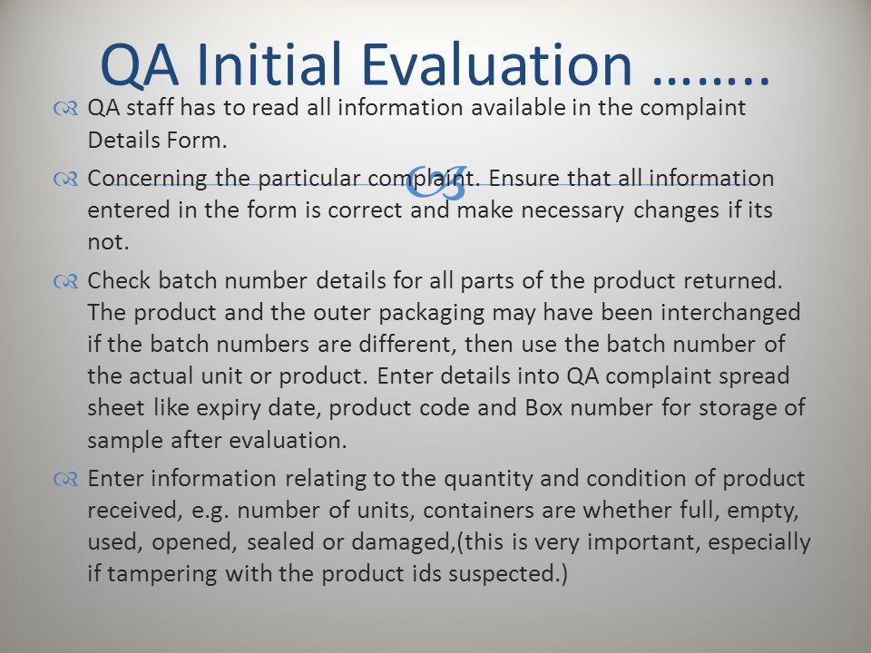 QA Initial Evaluation ……..