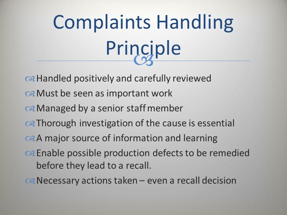 Complaints Handling Principle