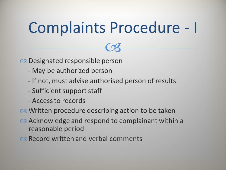 Complaints Procedure - I