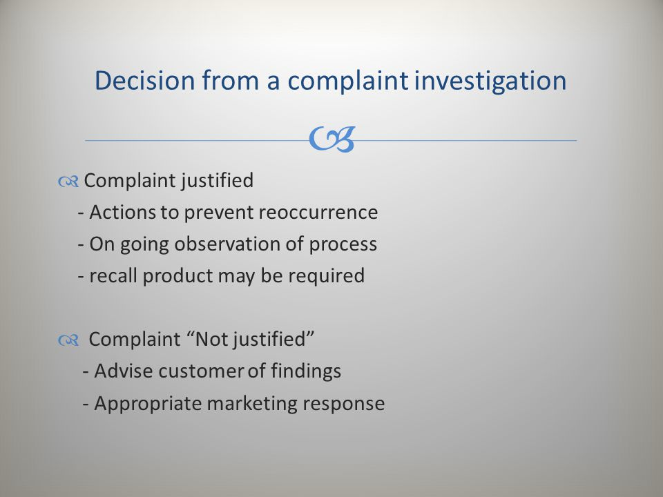 Decision from a complaint investigation