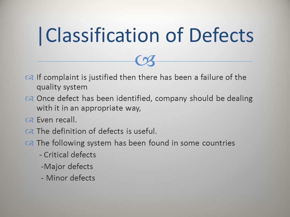 |Classification of Defects