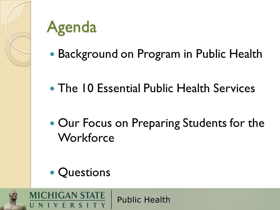 Agenda Background on Program in Public Health