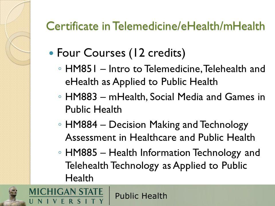Certificate in Telemedicine/eHealth/mHealth
