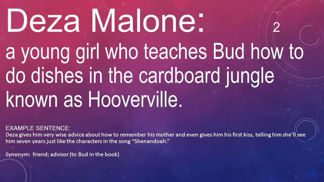 Deza Malone: 2 a young girl who teaches Bud how to do dishes in the cardboard jungle known as Hooverville.
