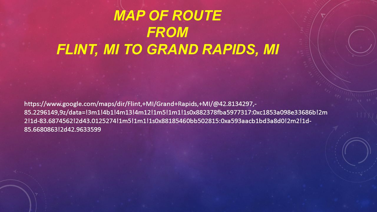 Map of route from flint, Mi to grand rapids, mi