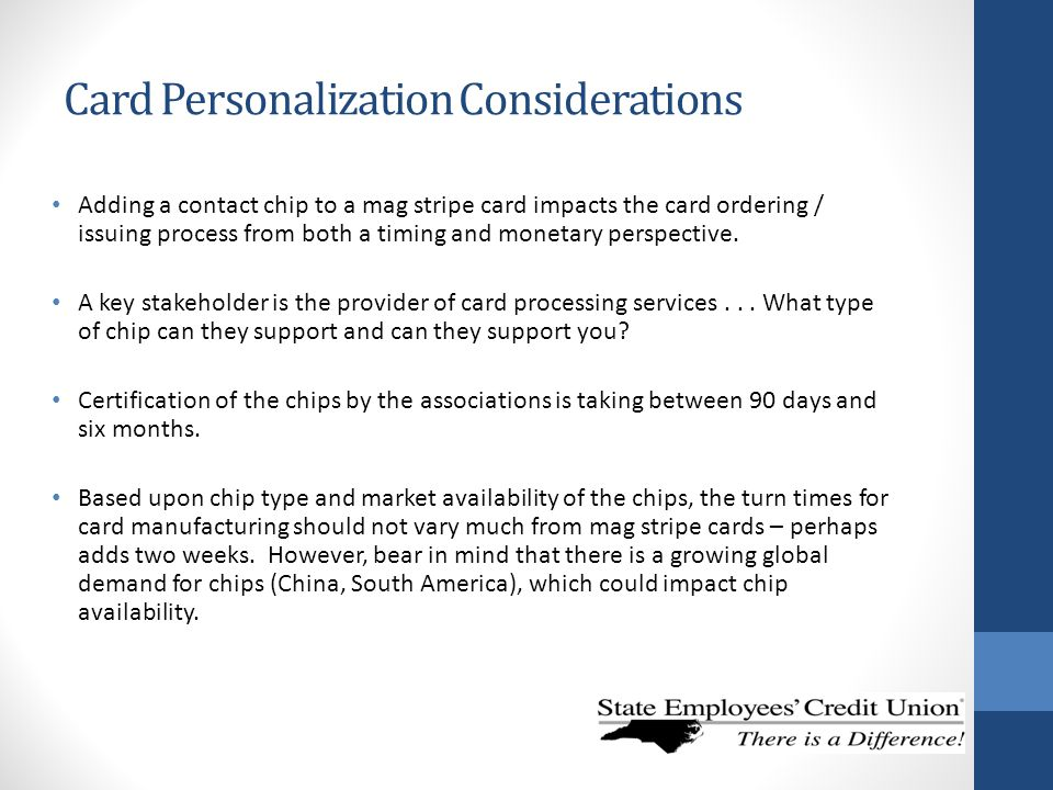 Card Personalization Considerations