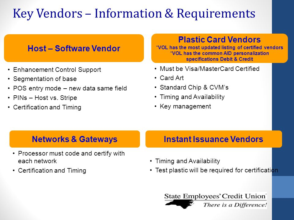 Key Vendors – Information & Requirements