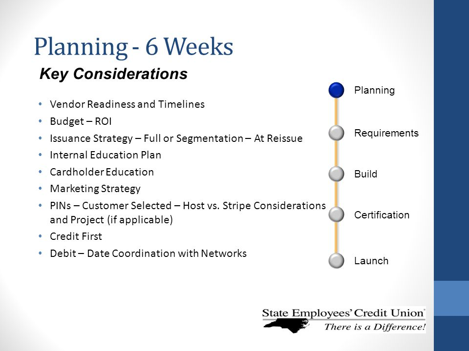 Planning - 6 Weeks Key Considerations Vendor Readiness and Timelines